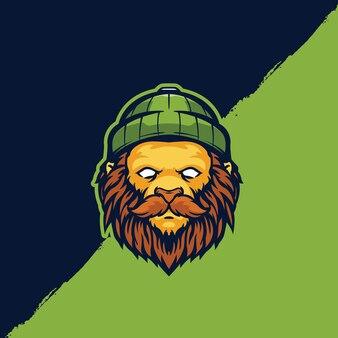 Modèle de logo de personnage de bûcheron lion