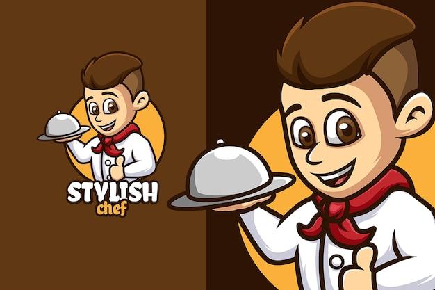 Modèle de logo de personnage de dessin animé de chef élégant