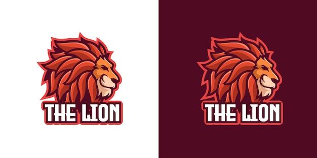 Modèle de logo de personnage de mascotte d'animaux sauvages de lion