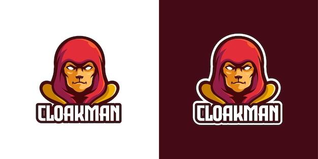 Modèle de logo de personnage de mascotte de cape