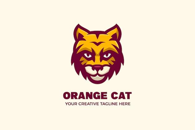 Modèle de logo de personnage mascotte chat orange