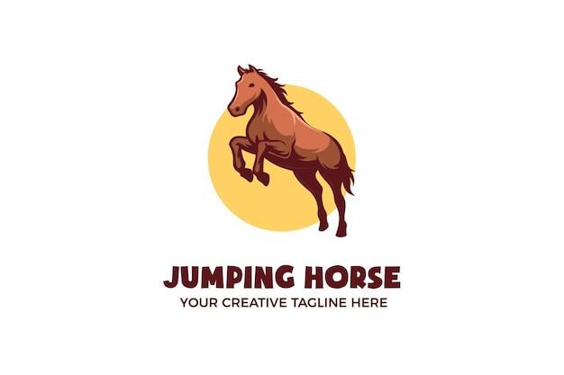 Modèle de logo de personnage mascotte cheval sautant