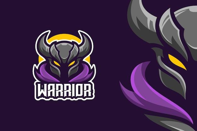 Modèle de logo de personnage mascotte chevalier guerrier