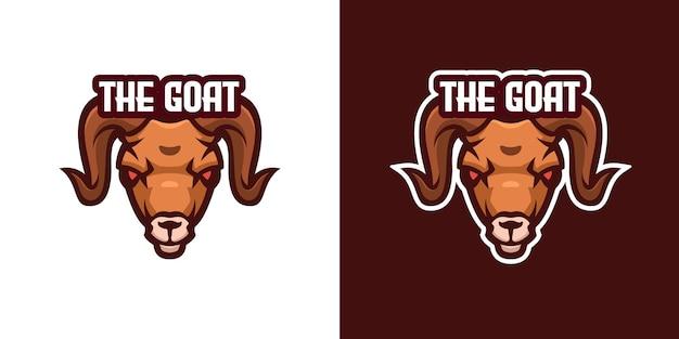 Modèle de logo de personnage de mascotte de chèvre sauvage
