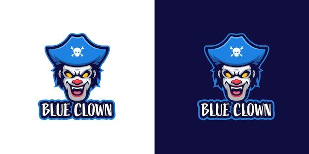 Modèle de logo de personnage de mascotte de clown de terreur de pirate