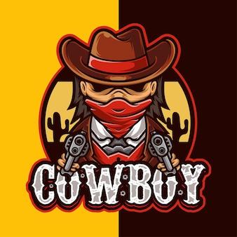 Modèle de logo de personnage de mascotte de cow-boy