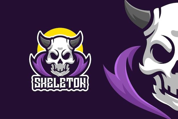 Modèle de logo de personnage mascotte crâne armée