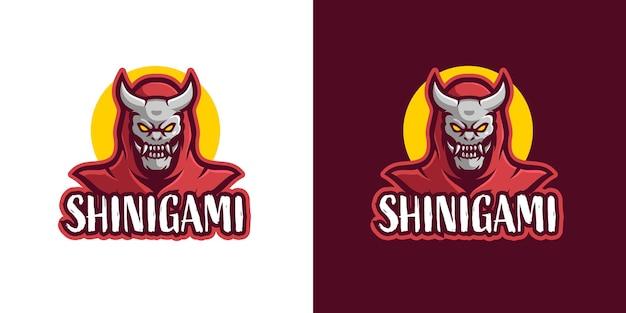 Modèle de logo de personnage de mascotte de crâne de shinigami