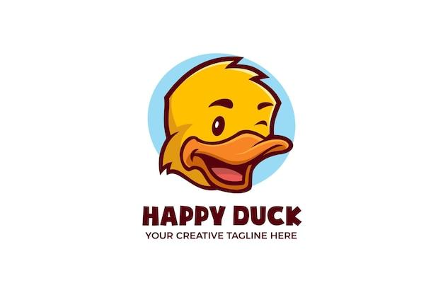 Modèle De Logo De Personnage De Mascotte De Dessin Animé De Canard Heureux Vecteur Premium
