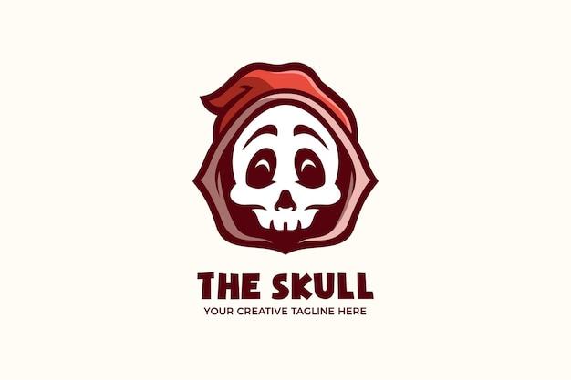 Le modèle de logo de personnage de mascotte de dessin animé de crâne