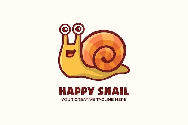 Modèle de logo de personnage de mascotte de dessin animé heureux escargot