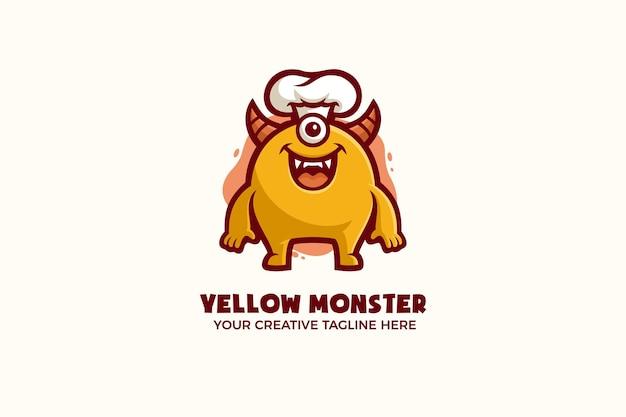 Modèle de logo de personnage de mascotte drôle de monstre jaune