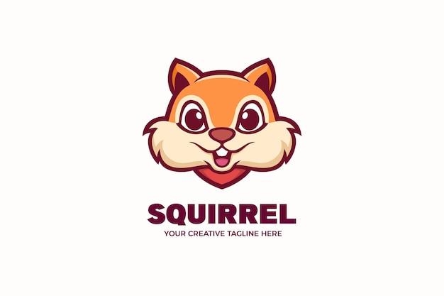 Modèle de logo de personnage mascotte écureuil mignon