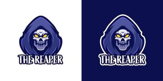 Modèle de logo de personnage de mascotte de faucheuse
