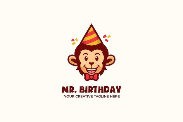 Modèle de logo de personnage de mascotte de fête d'anniversaire de singe