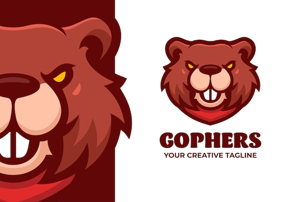 Le modèle de logo de personnage de mascotte gophers