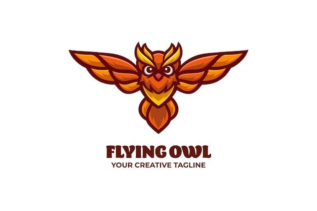 Modèle de logo de personnage de mascotte de hibou volant