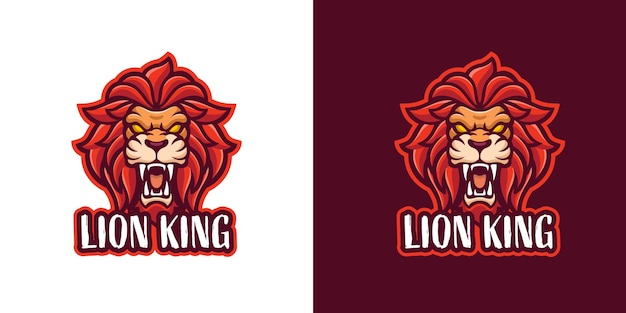 Modèle de logo de personnage mascotte lion rugissant