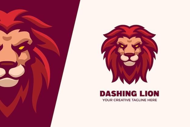 Modèle de logo de personnage mascotte lion sauvage