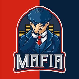 Modèle de logo de personnage de mascotte mafia