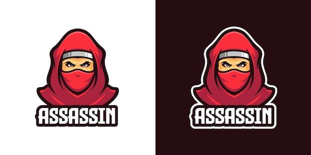 Modèle de logo de personnage mascotte ninja assassin rouge