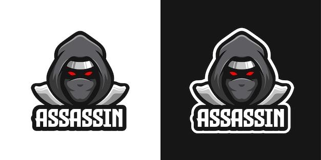 Modèle de logo de personnage mascotte ninja assassin