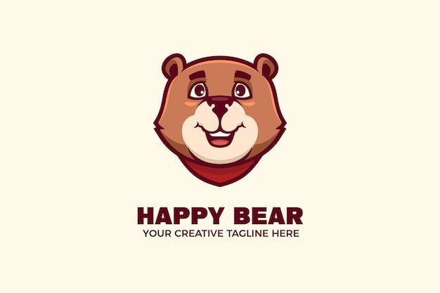 Modèle de logo de personnage mascotte ours heureux