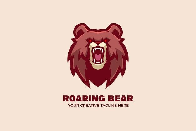 Modèle de logo de personnage mascotte ours sauvage brun