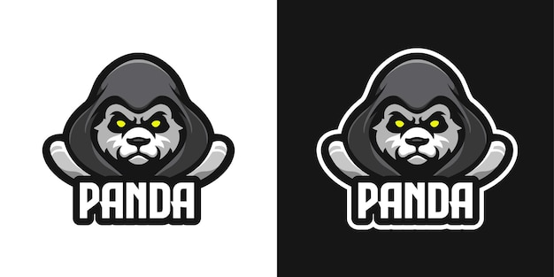Modèle De Logo De Personnage Mascotte Panda Masqué Vecteur Premium