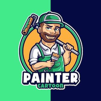 Modèle de logo de personnage de mascotte de peintre