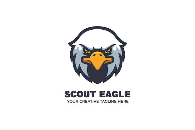 Modèle de logo de personnage mascotte tête d'aigle