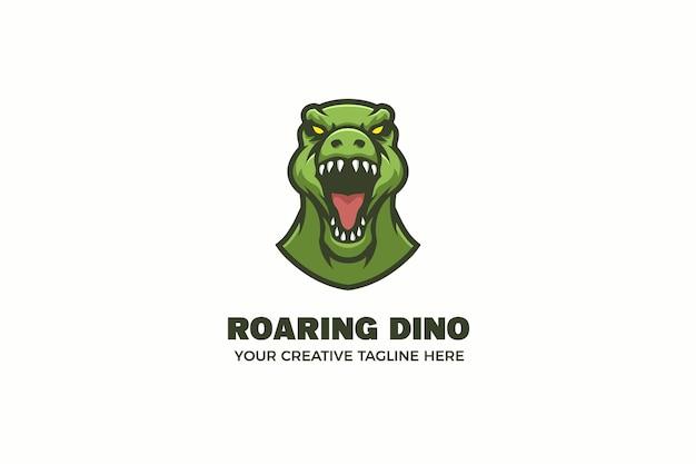Modèle de logo de personnage mascotte tête de dinosaure vert