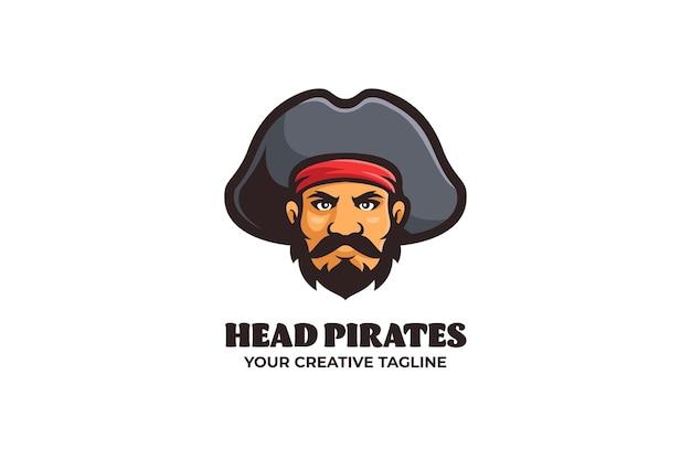 Modèle de logo de personnage mascotte tête de pirate