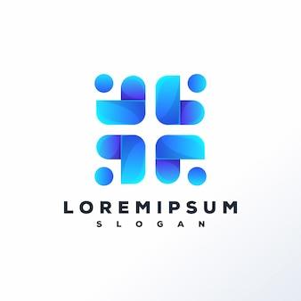 Modèle de logo de personnes abstraites prêt à l'emploi