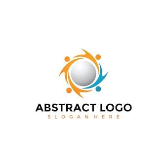 Modèle de logo de personnes abstraites de technologie