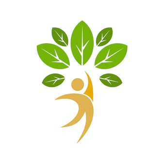 Modèle de logo de personnes arbre avec feuilles