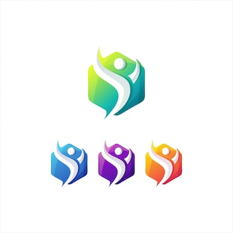 Modèle de logo de personnes dégradé génial