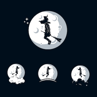Modèle de logo de petite sorcière avec lune
