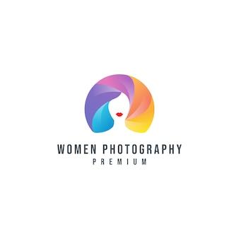 Modèle de logo de photographie de femmes colorées