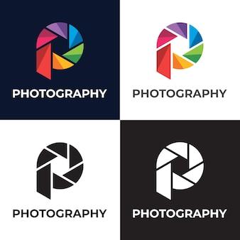 Modèle de logo de photographie initiale lettre p coloré