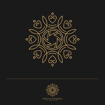Modèle de logo de photographie de luxe élégant.