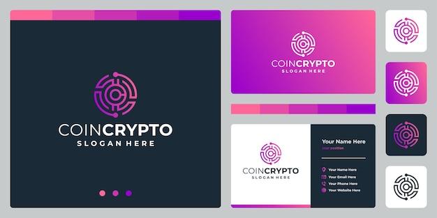 Modèle de logo de pièce de monnaie crypto avec la lettre initiale c. icône d'argent numérique de vecteur, chaîne de blocs, symbole financier.