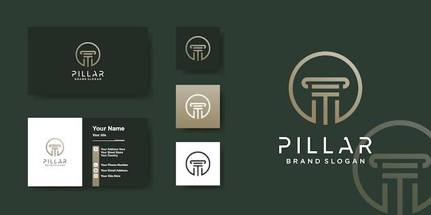 Modèle de logo de pilier avec un design de carte de visite concept unique et frais