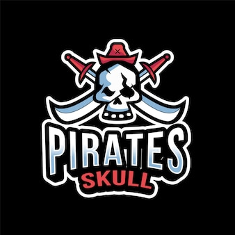 Modèle de logo pirates skull esport