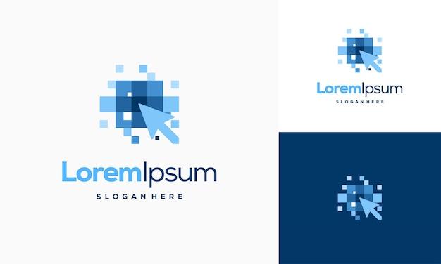 Modèle de logo pixel arrow, concept de conception de logo fast cursor, modèle de logo pixel cursor