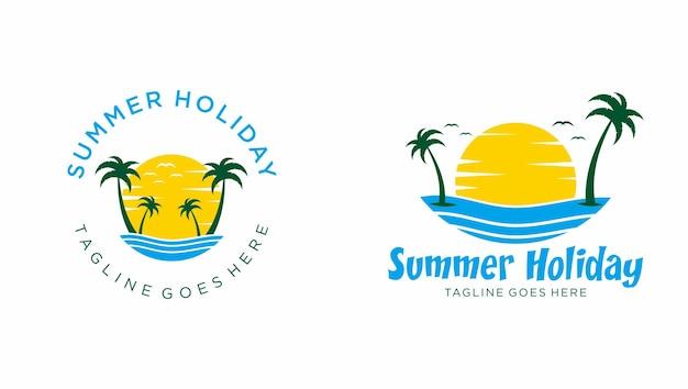 Modèle de logo de plage d'été vecteur premium