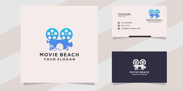 Modèle de logo de plage de film