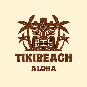 Modèle de logo de plage de masque tiki