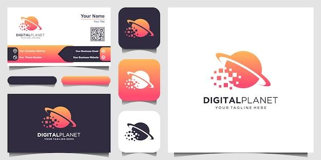 Modèle de logo de planète numérique. pixel combiné avec la planète.