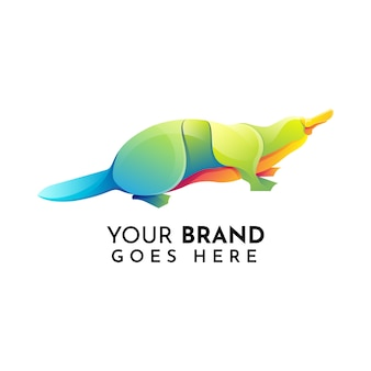 Modèle de logo plat animal ornithorynque